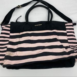 Victoria's Secret striped overnight bag pink/black